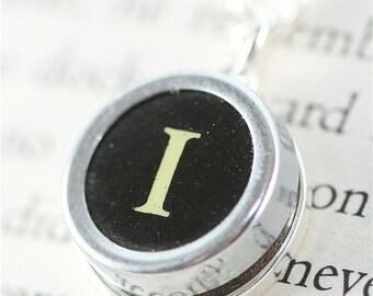 Vintage Typewriter Key Pendant and Necklace - Initial I