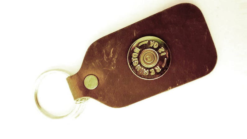 Augustine Key Chain Aged Bourbon Leather with Authentic image 0