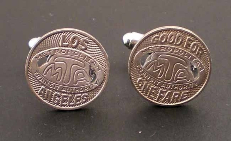 Vintage Los Angeles MTA Subway Token Cufflinks with Free Gift image 0