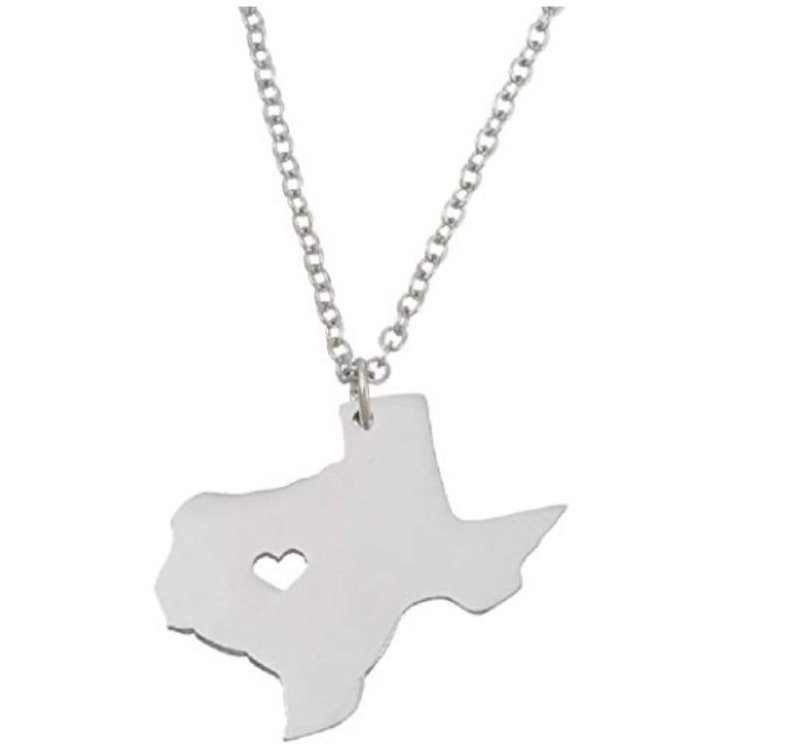 Stainless Steel Texas Heart Pendant and Necklace image 0