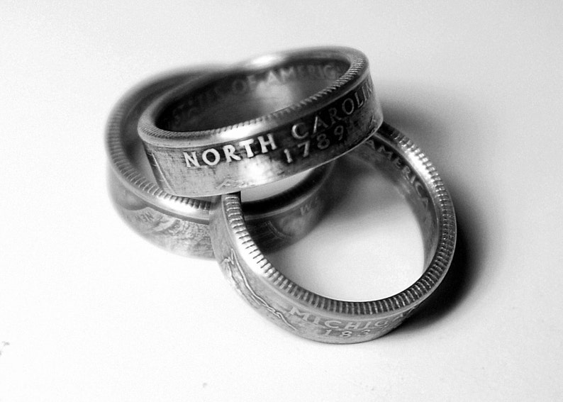 Handcrafted Ring made from a US Quarter  North Carolina  image 0