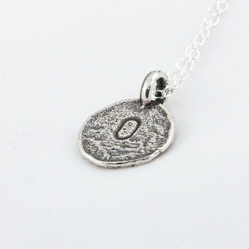 Initial O Handstamped Sterling Silver Pendant and Necklace  image 0