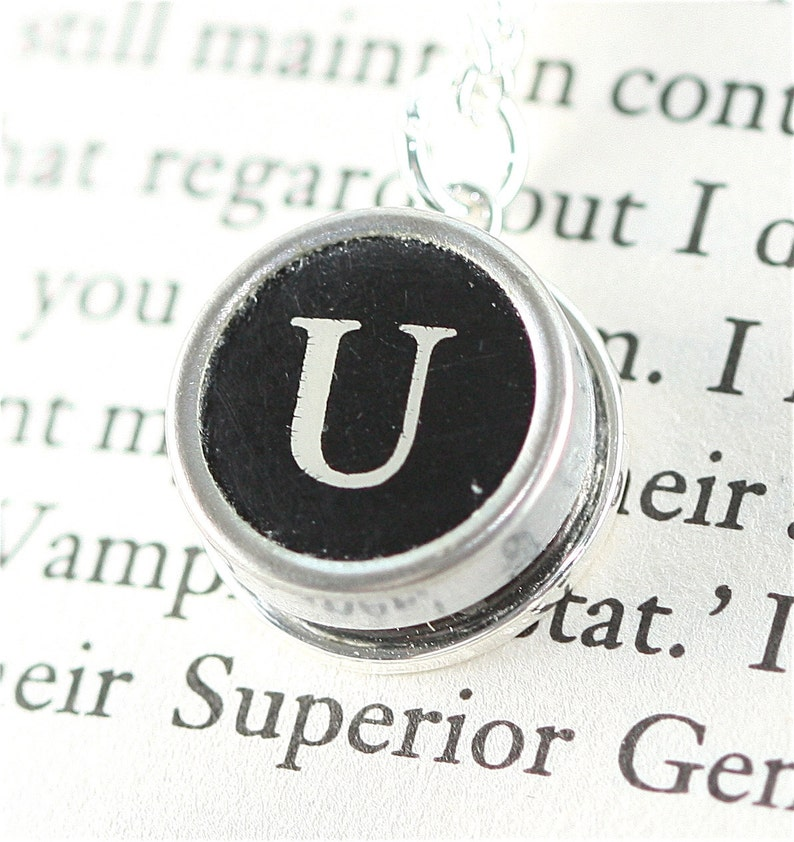 Vintage Typewriter Key Pendant and Necklace  Initial U image 0