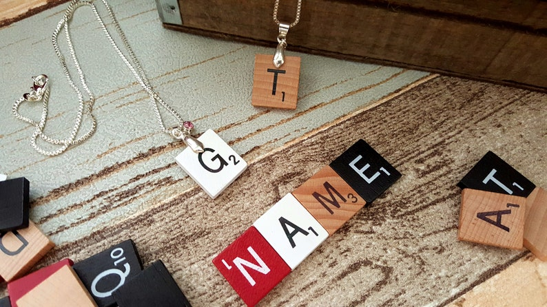 Scrabble Tile Necklaces  Made in your initial image 0
