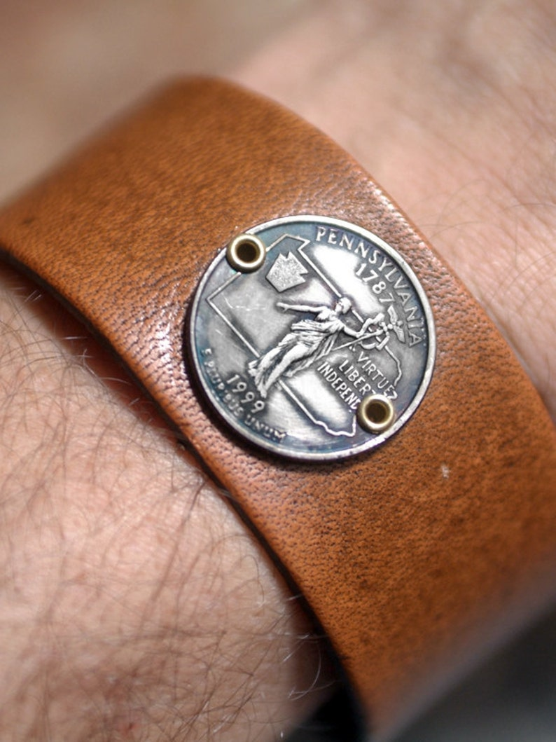 Pennsylvania State Quarter Leather Cuff image 0
