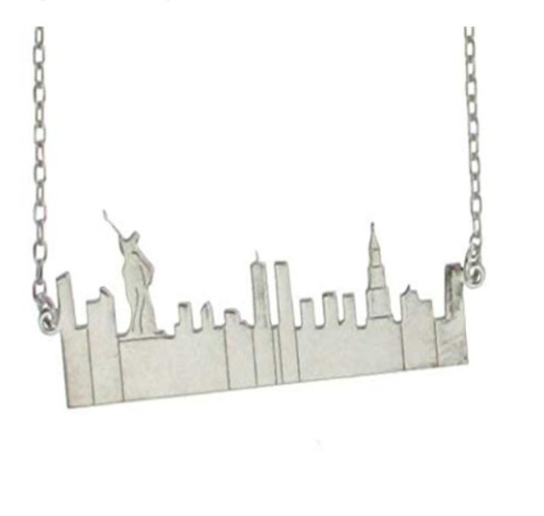 Sterling Silver City Scape Sillouhette Necklace and Chain-New image 0
