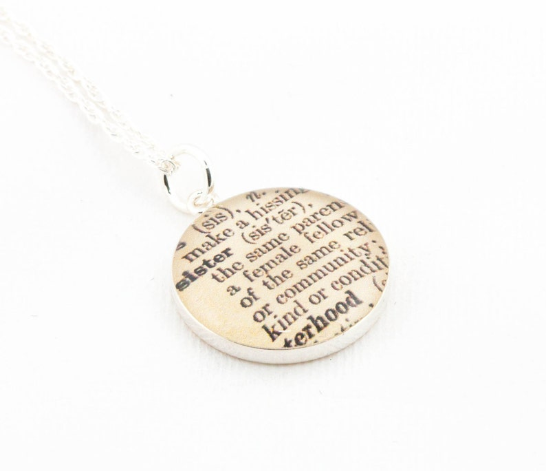 Sterling Silver Definition of SISTER Pendant and Necklace  image 0