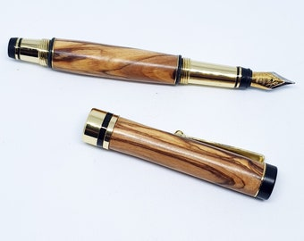Fountain pen turned from olive wood from Bethlehem