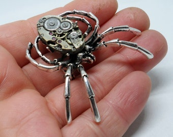 Steampunk large oval bodied spider brooch
