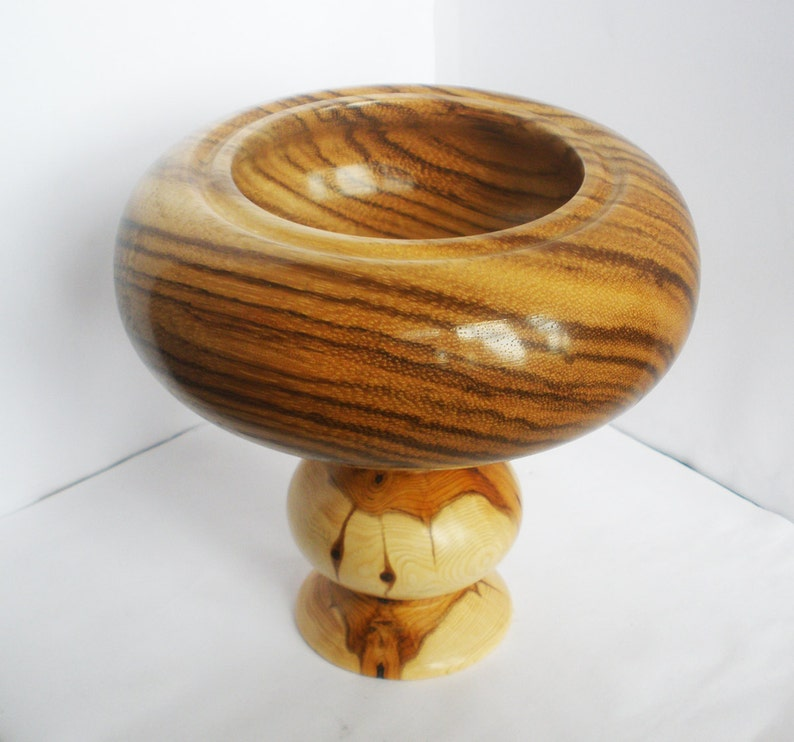 wood turned candy dish or trinket bowl made from zebrano and yew