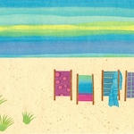 Collage Art Print - On the beach II - 8 x 10 or 10x13 Beach Print
