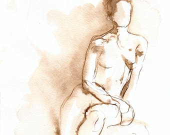 Original Nude Female Figure Drawing Seated on Stool, Line Art, Line Drawing, Fine Art Nude, Walnut Ink on Paper 7x10, Pen and Ink Drawing