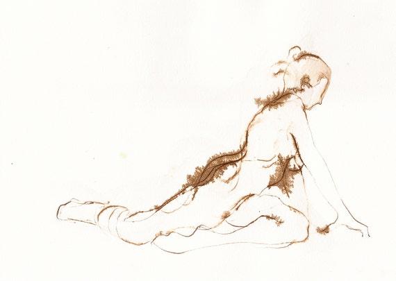 Dessin Original De Yoga Posture De Pigeon Dessin De Nu Etsy