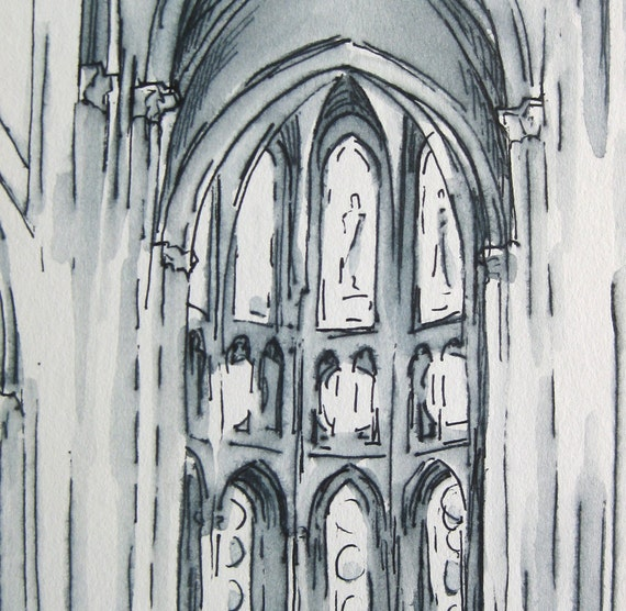 Original Architecture Drawing Gothic Pen And Ink