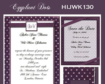 Eggplant Polka Dots  Design Wedding  Invitation Package Editable Download