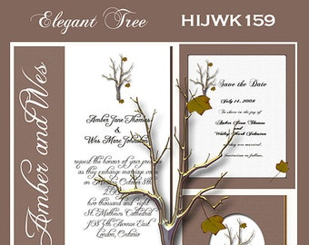 Fall Tree Design Wedding  Invitation Package Editable Download