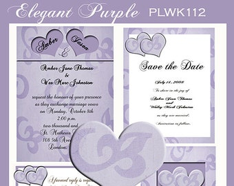 Heart Design Wedding  Invitation Package Editable Download