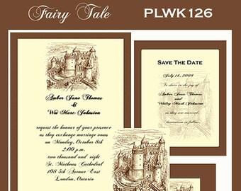 Fairy Tale Castle  Design Wedding  Invitation Package Editable Download