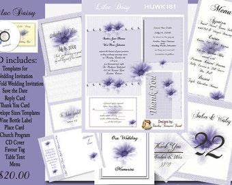 Delux Purple Daisy Wedding Invitation Kit on CD