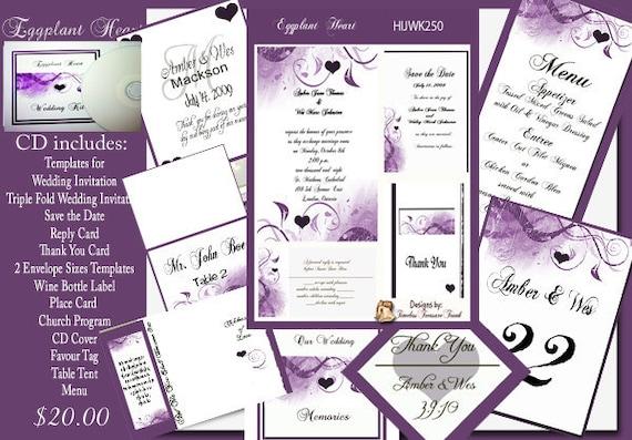 Delux eggplant and purple wedding invitation kit on cd etsy image 0 stopboris Images