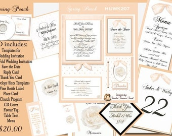 Delux Spring IS Peach Wedding Templates on CD