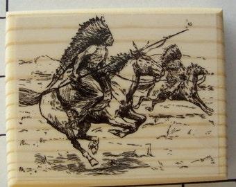 Indians on Warpath Rubber Stamp