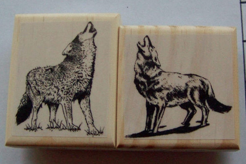2 Howling Wolves New Mounted Rubber Stamp  wolf image 0