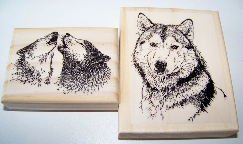 BEST SELLER 2 Wolf Wolves brand new mounted rubber stamps image 0