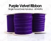 Velvet Ribbon Purple Swiss Velvet by the yard dark purple holiday christmas trim gift wrap ribbon dog collar ribbon 1 2 inch velvet (634)