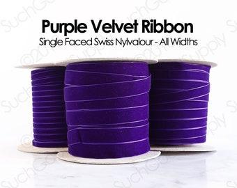 Purple Swiss Velvet Ribbon By The Yard   Dark Purple Wedding Velvet Trim   Purple Hair Bow Hat Making Velvet   Holiday Velvet Ribbon   (634)