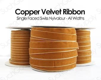 Copper Swiss Velvet Ribbon By The Yard   Bronze Wedding Velvet Trim   Copper Hair Bow Hat Making Velvet   Nylvalour Scrapbook Velvet   (447)