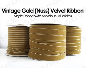 VINTAGE French METALLIC Antique Gold Brown Black Pearl Trim Ribbon 1 yard