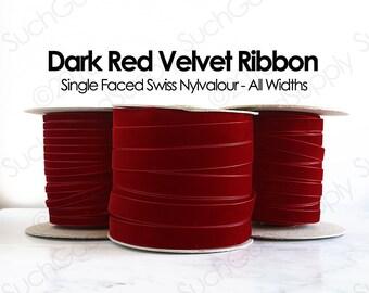 Dark Red Swiss Velvet Ribbon By The Yard   Holiday Christmas Velvet Trim   Red Wedding Velvet   Dark Red Hair Bow Hat Making Velvet   (614)