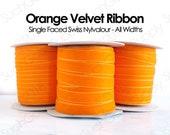 Velvet Ribbon Orange Swiss velvet ribbon by the yard wedding ribbon dog collar ribbon hair bow velvet 1 inch 2 inch velvet thin velvet (445)