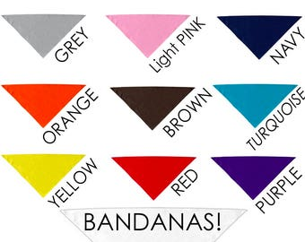 Blank Dog BANDANAS for printing, vinyl, embroidery --poly/cotton blend -- 13 Colors