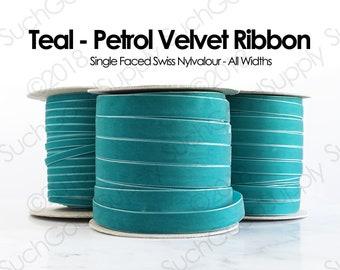 Teal Swiss Velvet Ribbon By The Yard   Green Blue Wedding Velvet Trim   Teal-Petrol Hair Bow Hat Making Velvet   Nylvalour Velvet (654)