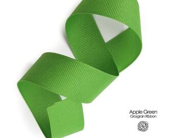 Apple Green Grosgrain Ribbon   3/8 inch, 5/8 inch, 7/8 inch, 1.5 Inch Ribbon   USA made Berwick Offray Grosgrain   Kelly Green Ribbon  (550)