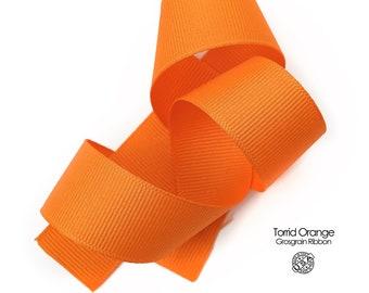 Orange Grosgrain Ribbon   3/8 inch, 5/8 inch, 7/8 inch, 1.5 inch Torrid Orange Ribbon   USA Made Berwick Offray Orange Grosgrain (750)