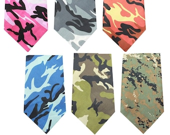 Blank Camo Dog BANDANAS for printing, vinyl, embroidery --poly/cotton blend -- 6 Colors of Camouflage