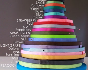 Nylon Webbing by the Yard - 27 Colors | 5/8 inch 1 inch heavy duty nylon webbing | Dog Collar Webbing | Horse Tack Webbing |
