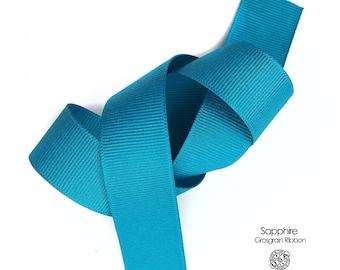 Sapphire Blue Grosgrain Ribbon By The Yard   3/8 inch, 5/8 inch, 7/8 inch, 1.5 inch Teal Blue Ribbon   Berwick Offray USA Made Ribbon  (341)