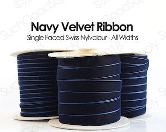 Navy Blue Swiss Velvet Ribbon By The Yard   Dark Navy Blue Wedding Velvet Trim   Navy Hair Bow Velvet   Christmas Holiday Velvet   (419)