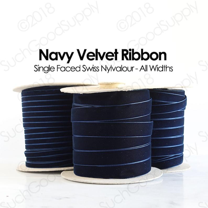 Navy Blue Swiss Velvet Ribbon By The Yard  Dark Navy Blue image 1