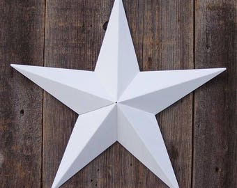 HAND CRAFTED SHABBY VINTAGE CHIC WHITE AMISH TIN BARN STAR IN ORIGINAL PAINT 2