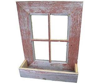 AmishWares Collectible Handmade Barn Wood Window Frame Flower Box Planter