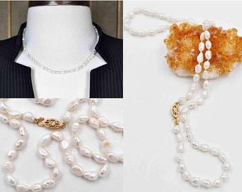 Vintage 14K Yellow Gold & White Pearl Necklace, Freshwater Pearl Strand, Baroque, Knotted, Wedding, Versatile, So Lovely! #c211