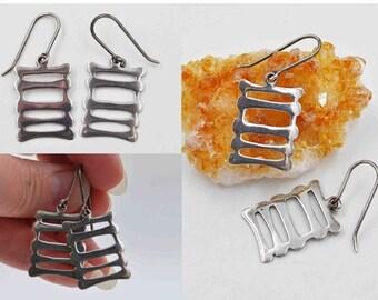Vintage 950 Silver Modernist Pierced Earrings, Openwork, Ladder, Asian Symbol, Dangle, Drop, Asian Flair! #b785