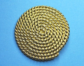 MONET Vintage Large Textured Gold Spiral Rope Circle Brooch,  Unique Statement Piece!  #A713