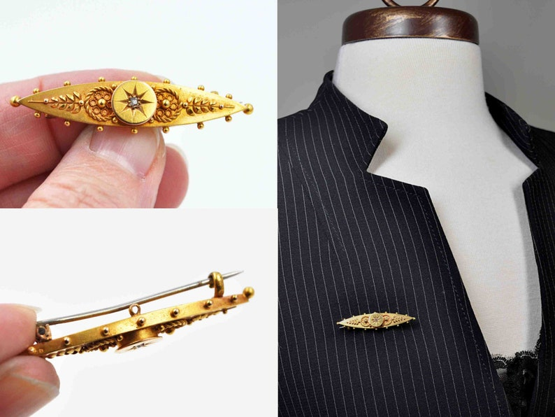 Chester Dated 1901-3.3 Grams  #c691 Antique Victorian 15Ct Yellow Gold /& Diamond Etruscan Revival Bar Pin Brooch