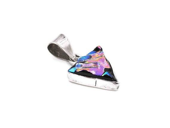 Silver Multi-gemstone Bib Necklace w Colorful Dichroic Glass Center Piece